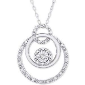 "NWT! Diamond Circle 18"" Necklace Sterling Silver"